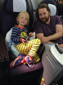 Lake and Jay enjoying Business class - we could get used to this...