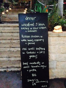 Delicious dinner menu for the Friday night dinner at the Lane in Palmwoods