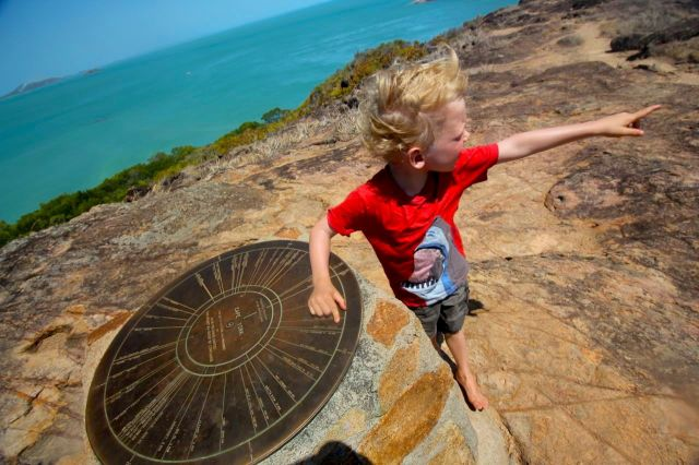 Finn pointing from Cape York to New York - we've come a long way!