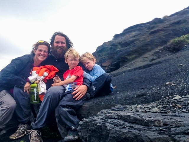 Family photo in Southwest National Park in South Cape Bay.